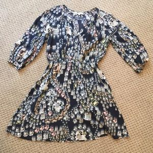 Jewel-printed silk dress